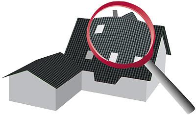 Dachinspektion symbolisiert durch Haus mit Lupe